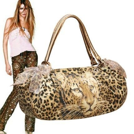 BROWN LEOPARD PRINT RIBBON TOTE HANDBAG PURSE #671